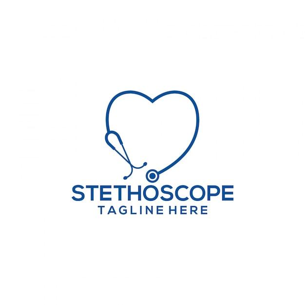 Modelo de logotipo do estetoscópio Vetor Premium