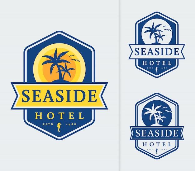 Modelo de logotipo do hotel à beira-mar. Vetor Premium