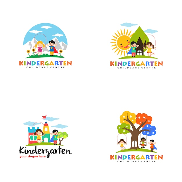Modelo de logotipo do jardim de infância Vetor Premium