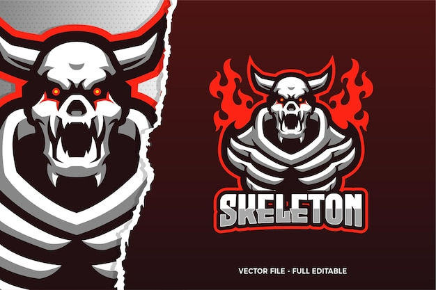 Modelo de logotipo do jogo red eye skeleton e-sport Vetor Premium