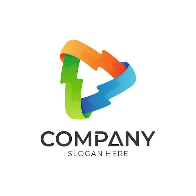 Modelo de logotipo do media play Vetor Premium