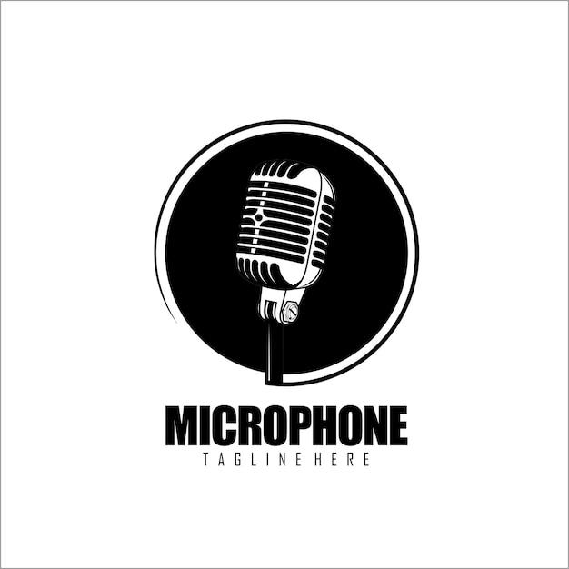 Modelo de logotipo do microfone em preto e branco Vetor Premium