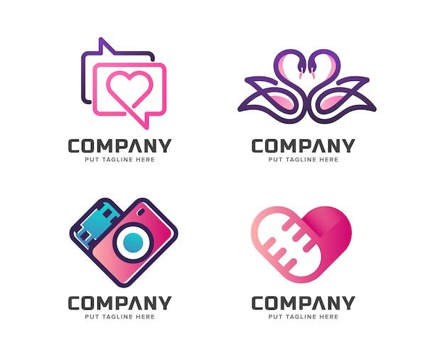 Modelo de logotipo do negócio amor mídia conjunto Vetor Premium