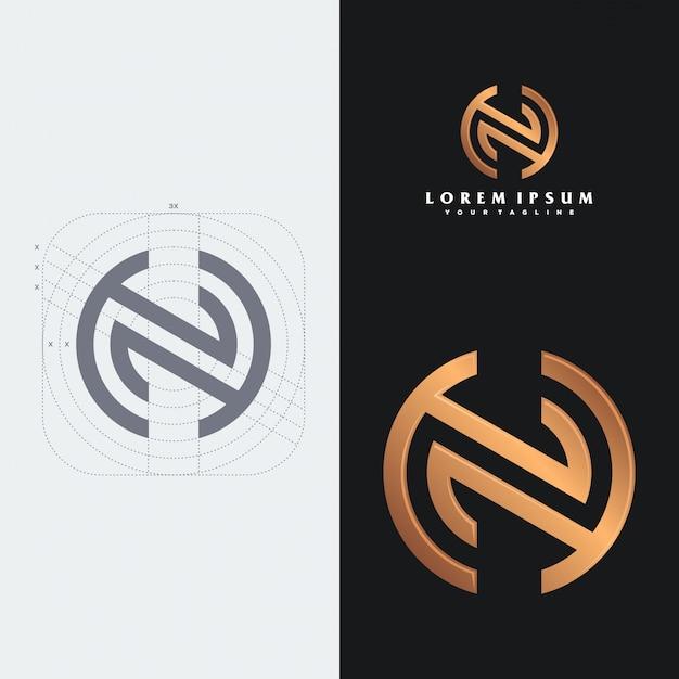 Modelo de logotipo do nh monograma. Vetor Premium