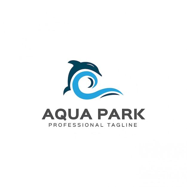 Modelo de logotipo do parque aquático Vetor Premium