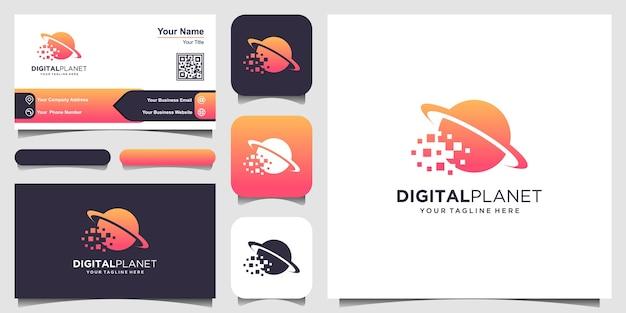 Modelo de logotipo do planeta digital. pixel combinado com planeta. Vetor Premium