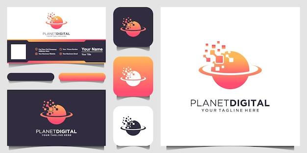 Modelo de logotipo do planeta digital. planeta combinado com pixel. Vetor Premium
