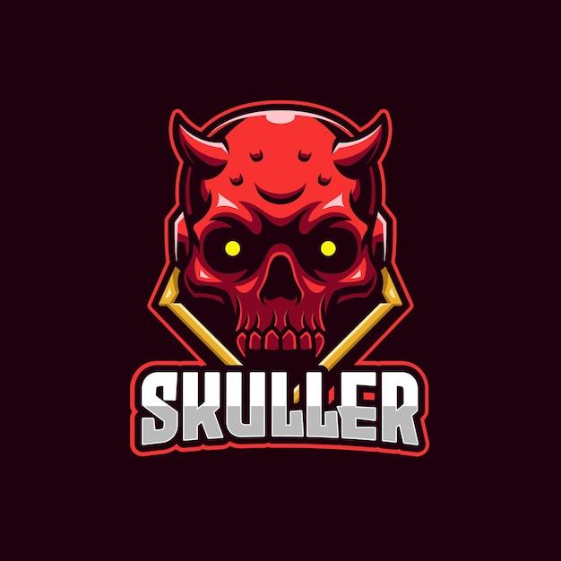 Modelo de logotipo do red skull devil e-sports Vetor Premium