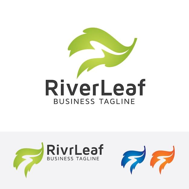 Modelo de logotipo do vetor da folha do rio Vetor Premium