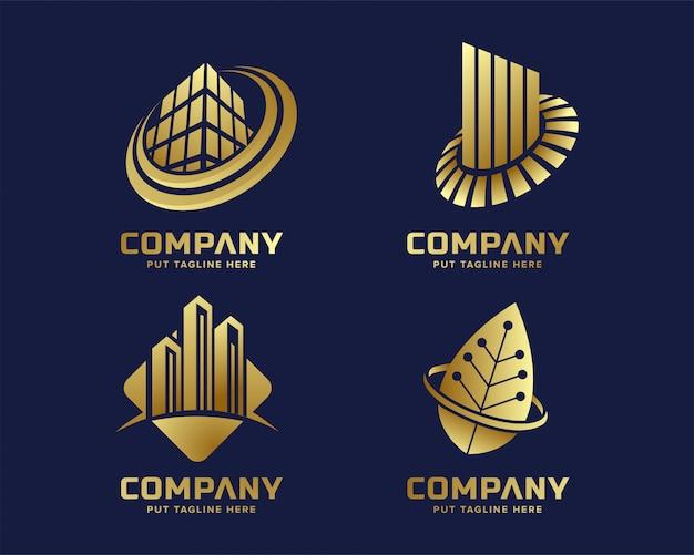 Modelo de logotipo dourado de negócios modernos Vetor Premium