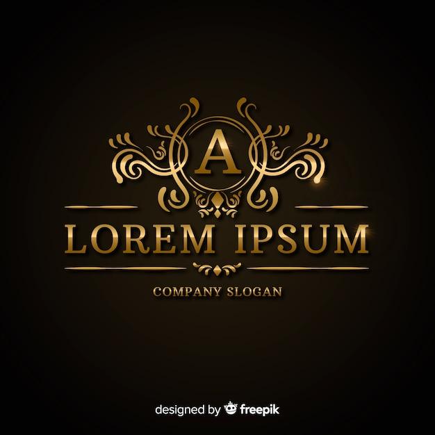 Modelo de logotipo dourado luxuoso Vetor grátis