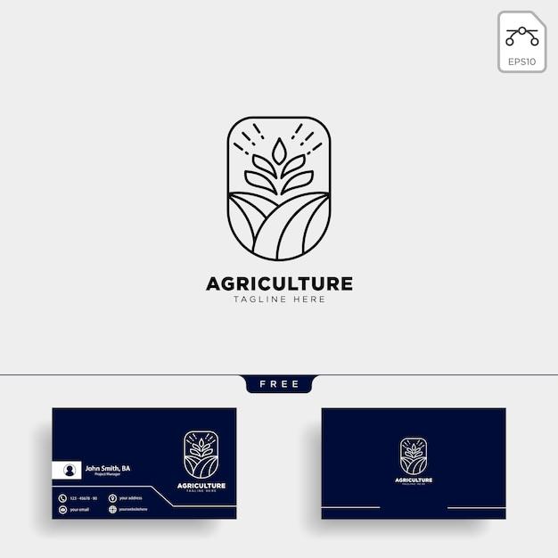 Modelo de logotipo e cartão de fazenda de agricultura Vetor Premium