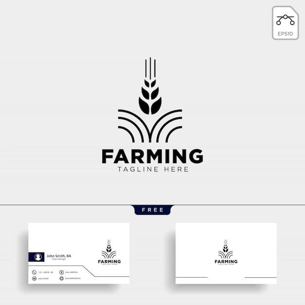 Modelo de logotipo e cartão de fazenda Vetor Premium
