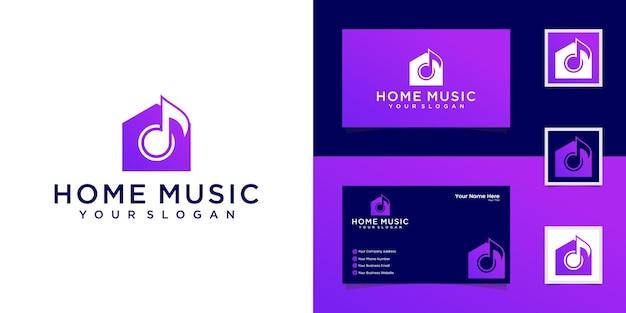 Modelo de logotipo e cartão de visita da music house Vetor Premium