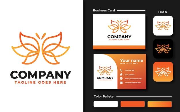 Modelo de logotipo e cartão de visita de borboleta em lineart Vetor Premium