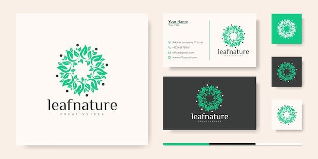 Modelo de logotipo e cartão de visita de ideia criativa de folha de natureza Vetor Premium