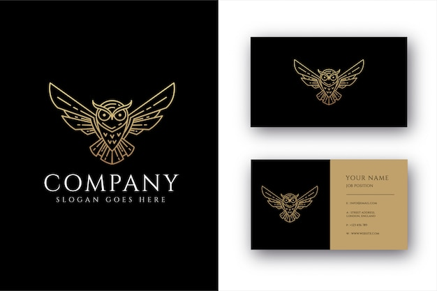 Modelo de logotipo e cartão de visita lineart coruja Vetor Premium