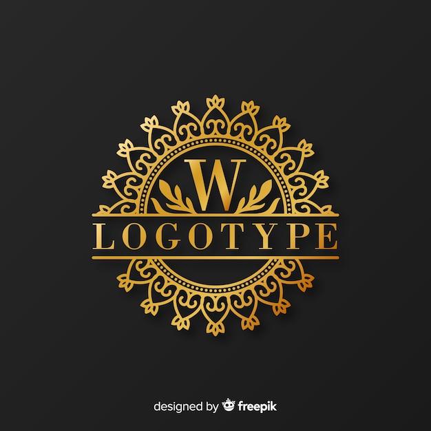 Modelo de logotipo elegante dourado com ornamentos Vetor grátis