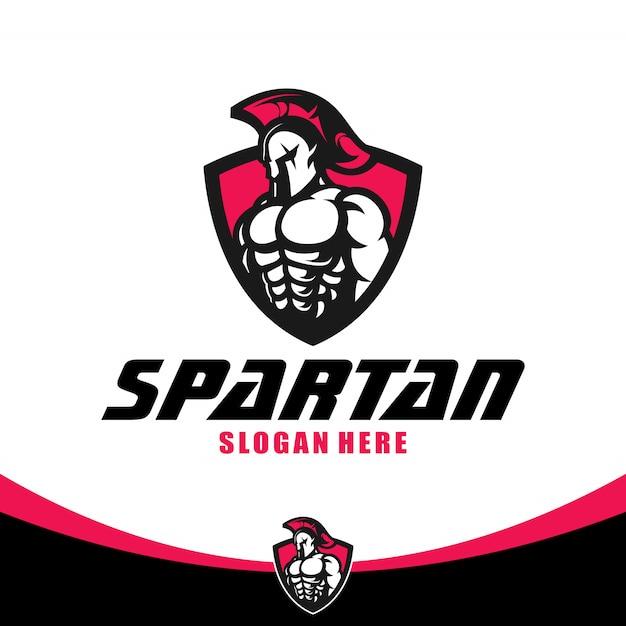 Modelo de logotipo espartano Vetor Premium