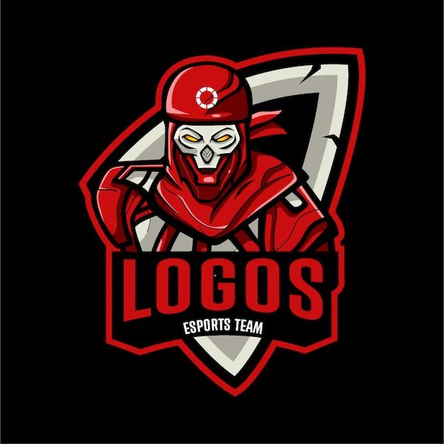 Modelo de logotipo esports cabeça de caveira Vetor Premium