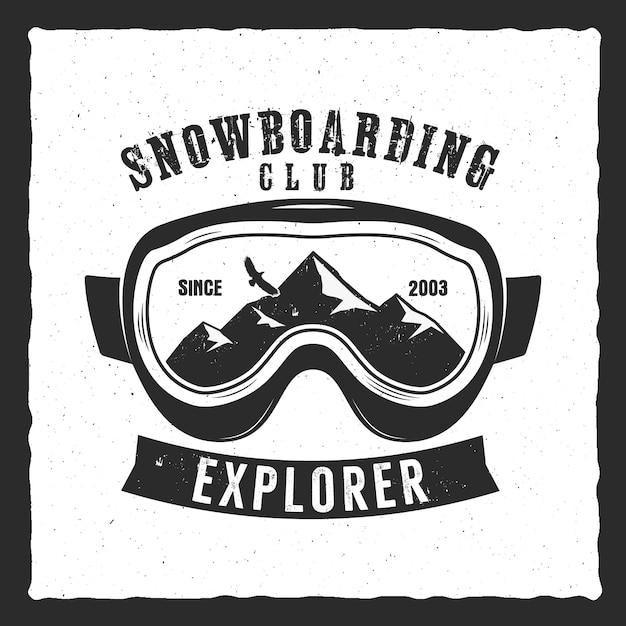 Modelo de logotipo extrema de óculos de snowboard. distintivo de clube de snowboard de inverno. desenho vetorial vintage Vetor Premium