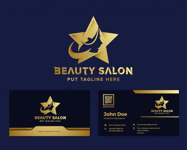 Modelo de logotipo feminino de beleza de luxo premium Vetor Premium