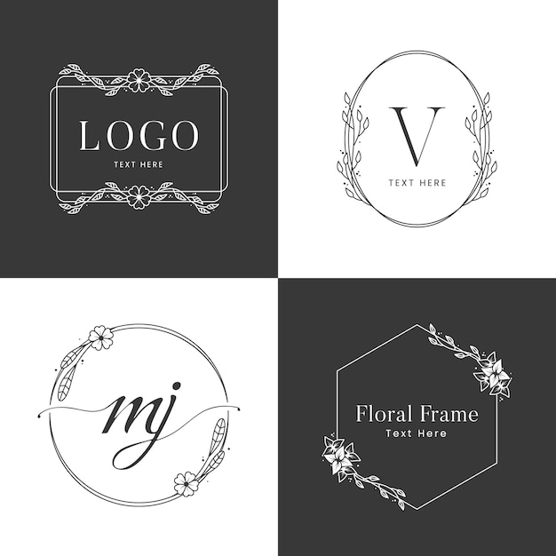 Modelo de logotipo floral em preto e branco Vetor Premium