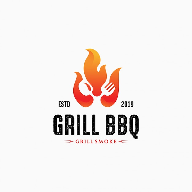 Modelo de logotipo grelha quente para restaurante. design de logotipo para churrasco Vetor Premium