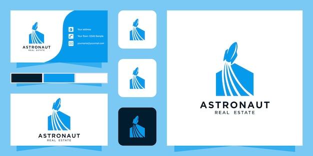 Modelo de logotipo imobiliário e cartão de visita Vetor Premium