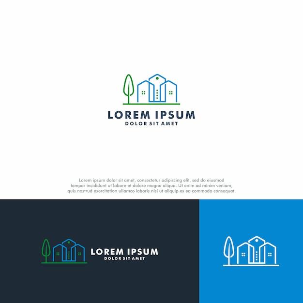 Modelo de logotipo imobiliário Vetor Premium