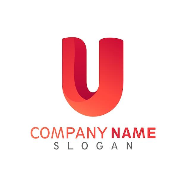 Modelo de logotipo inicial letra u Vetor Premium