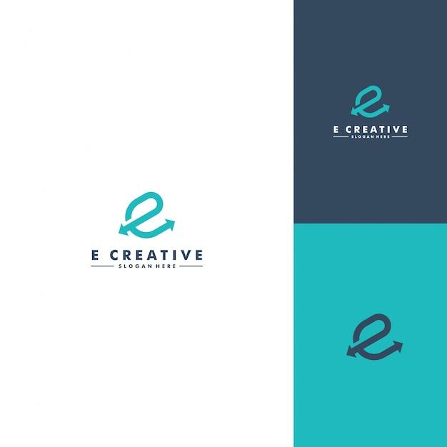 Modelo de logotipo letra e Vetor Premium