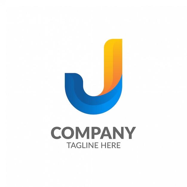 Modelo de logotipo minimalista letra j Vetor Premium