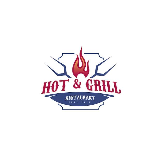 Modelo de logotipo moderno hot & grill Vetor Premium