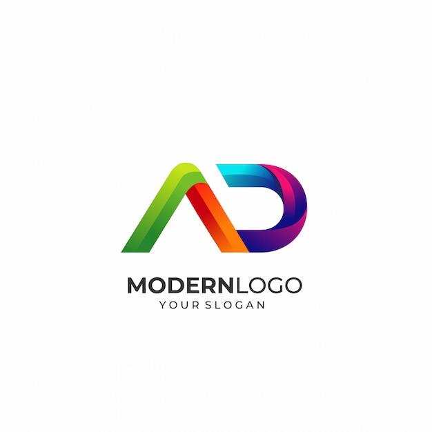 Modelo de logotipo moderno letra ad Vetor Premium
