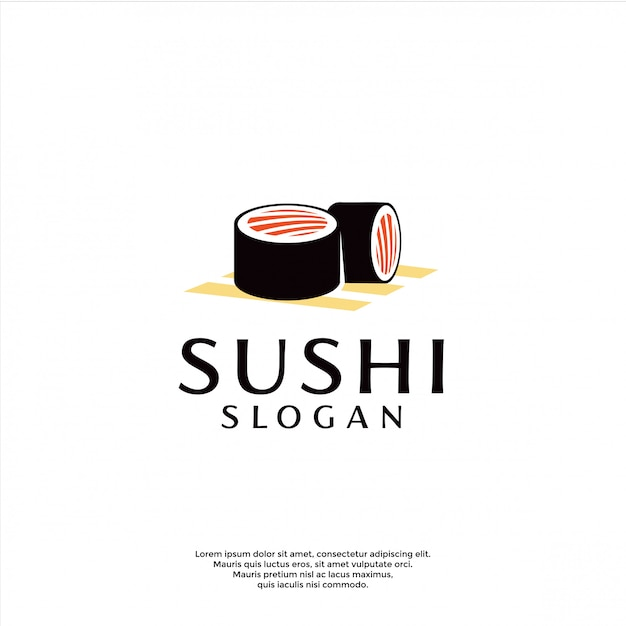 Modelo de logotipo moderno sushi Vetor Premium