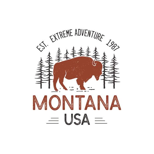 Modelo de logotipo montana eua, emblema de aventura do parque nacional retrô com cabeça de búfalo e árvores. Vetor Premium