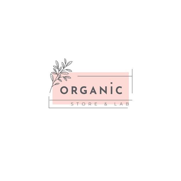 Modelo de logotipo orgânico com folhas Vetor grátis