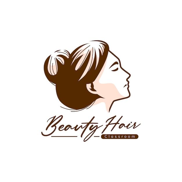 Modelo de logotipo para cabelo de beleza Vetor Premium