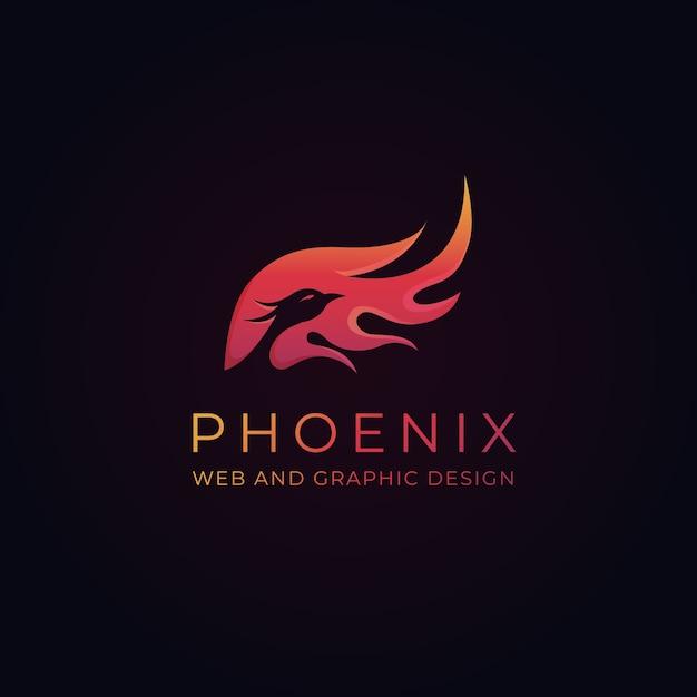 Modelo de logotipo pheonix Vetor Premium
