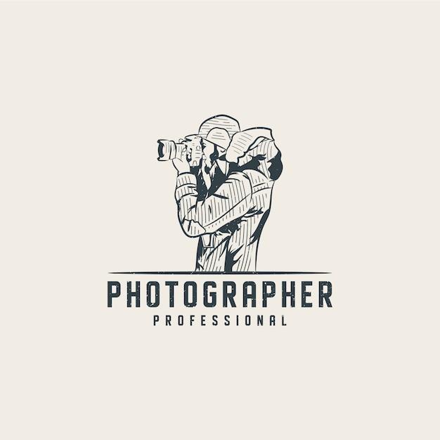 Modelo de logotipo profissional fotógrafo Vetor Premium