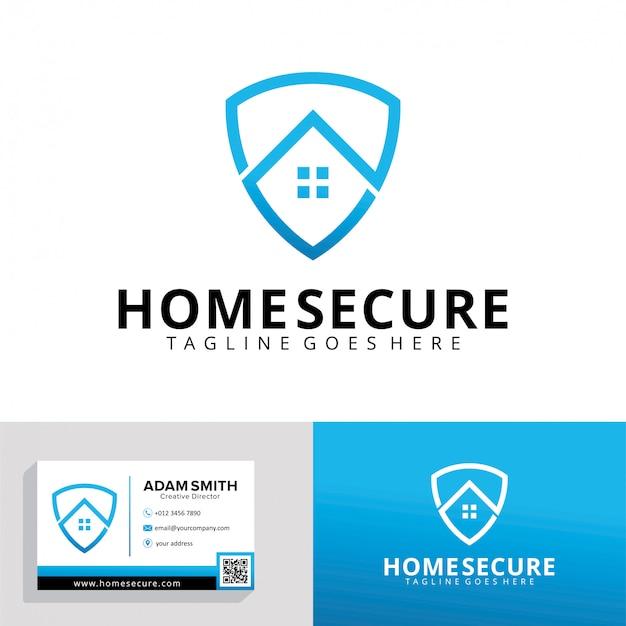 Modelo de logotipo seguro para casa Vetor Premium