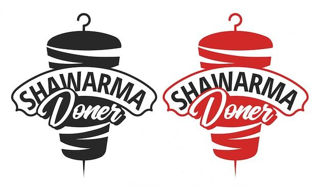 Modelo de logotipo shawarma doner Vetor Premium