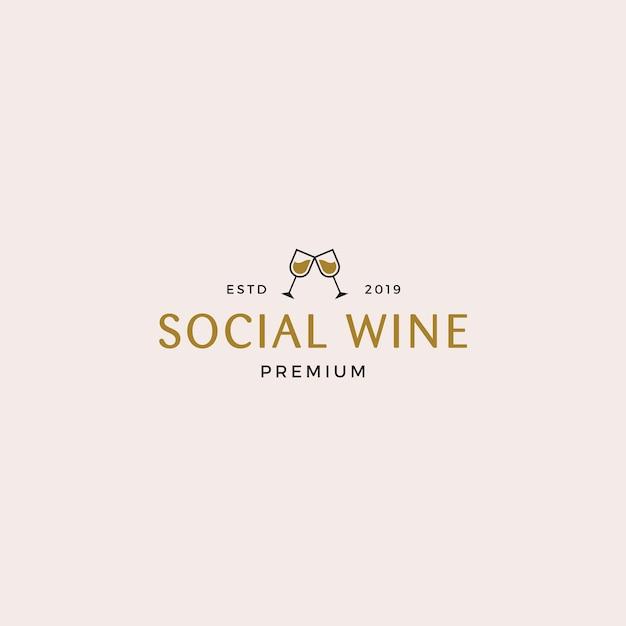 Modelo de logotipo social de vinho Vetor Premium