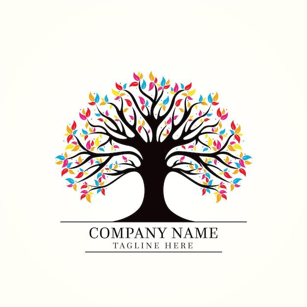 Modelo de logotipo tree life Vetor Premium