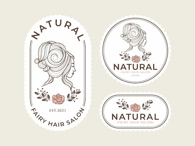 Modelo de logotipo vintage beleza natural Vetor Premium