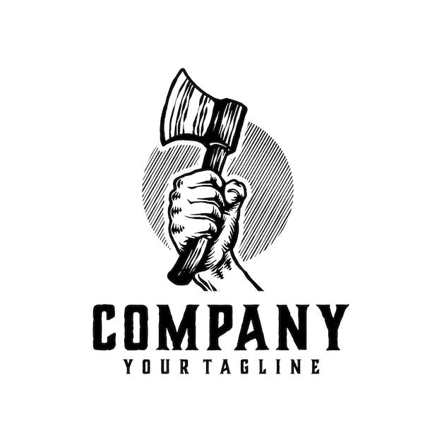 Modelo de logotipo vintage de machado Vetor Premium