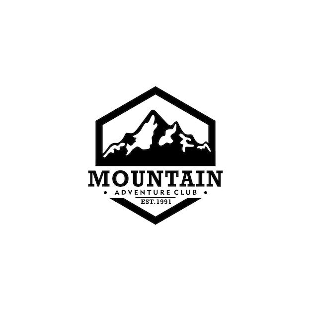 Modelo de logotipo vintage de montanha Vetor Premium