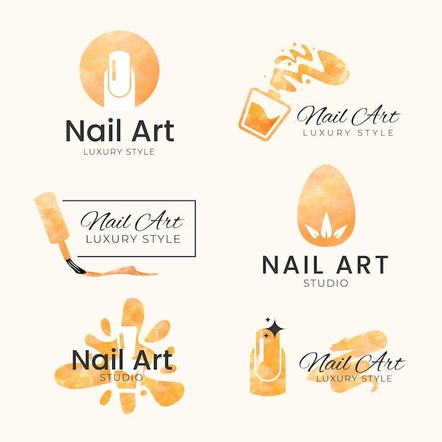 Modelo de logotipos de estúdio de arte de unhas Vetor Premium