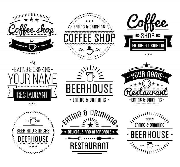 Modelo de loja de café. Vetor Premium